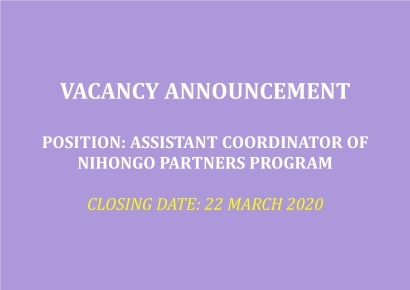 [CLOSED] JOB OPPORTUNITY (Assistant Coordinator of NIHONGO Partners Program)