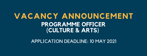 JOB OPPORTUNITY: PROGRAMME OFFICER (CULTURE & ARTS)
